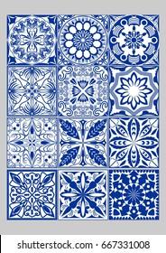Majolica pottery tiles mega set, blue and white azulejos, original Portuguese and Spain decor