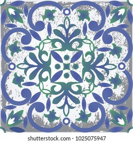 Majolica, vintage ornaments on the antique tiles