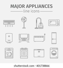 Major appliances icons set