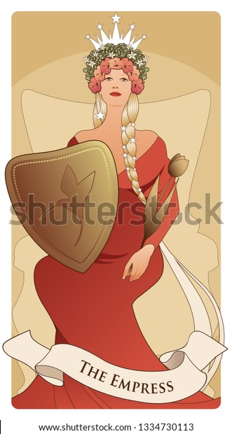 Major Arcana Tarot Cards Empress Beautiful Stock Vector (Royalty