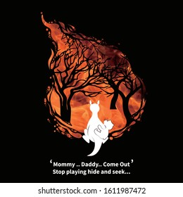 Major Bush Fires in Australia.Pray for the Kangaroo Donation Poster. Illustration for forest flame victim.