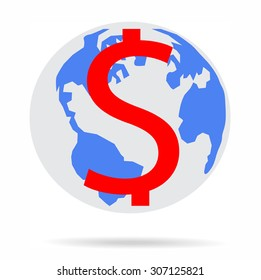 Major currencies us money (dollar) on world map - vector business illustration