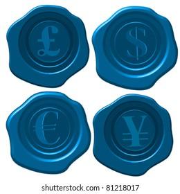 Major currency symbols on blue wax seal.