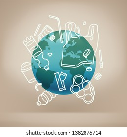 Major environment concern concept vector illustration. Global environmental problem: plastic pollution figurative image with Earth blocked by large amount of plastic waste