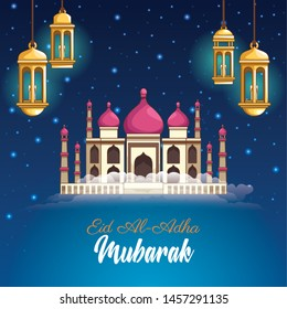 major festival of the Muslims and mosque chandeliers at night vector illustration graphic design