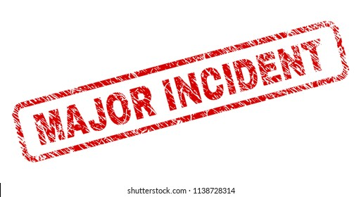 MAJOR INCIDENT stamp seal print with scratced style. Red vector rubber print of MAJOR INCIDENT text with scratched texture. Text label is placed inside rounded rectangle frame.