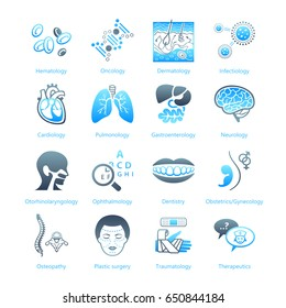 Major medical specialties and human organs icons