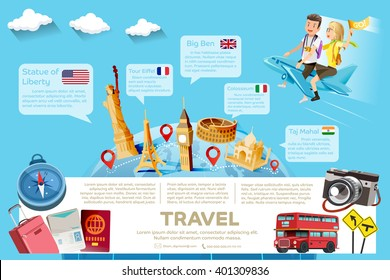 The major tourist attractions in the famous country.Template guide of International  travel.