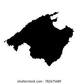 Majorca map. Island silhouette icon. Isolated Majorca black map outline. Vector illustration.