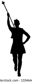 Majorette performing vector silhouette illustration. Beautiful dancer girl on the carnival. Street performer music event. Public festival woman in costume event celebration.