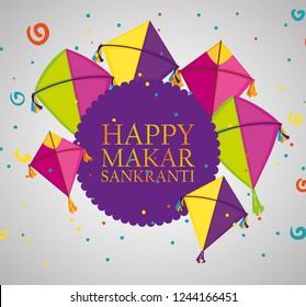 makar sankranti ceremony emblem with kites