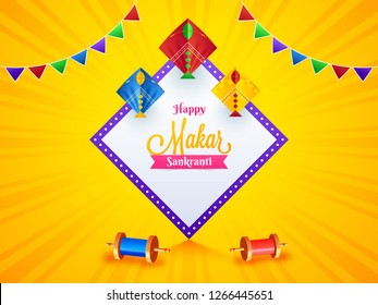 Makar Sankranti festival celebration template design decorated with string spool and kites on yellow rays background.