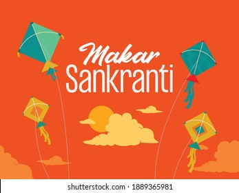 Makar Sankranti festival design template with kites, sun, and cloud elements for banner.