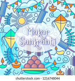 Makar Sankranti kites festival of India. Food, candels, sun, kite string spool background. Makar Sankranti celebration vector illustration