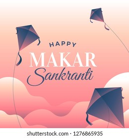 Makar sankranti poster design with kites. It also known as Makaraa Sankrānti or Maghi, is a festival day in the Hindu calendar, in reference to deity Surya.It is observed each year in January.