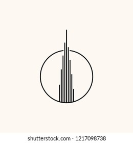 Makassar, Indonesia - October 31 2018: Burj Khalifa icon vector