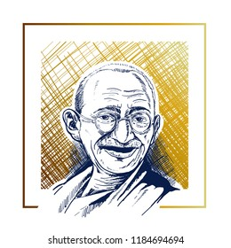 Makassar Indonesia, September 21 th 2018: vector isolated portrait hand drawn stylized illustration of Mahatma Gandhi, an Indian Movement activist and Leader