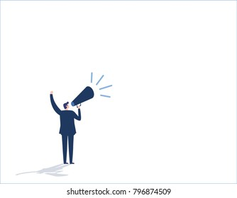 Make an announcement. Message business people concept