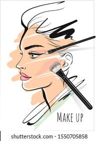 Make up art  beauty stylish face and makeup brushes