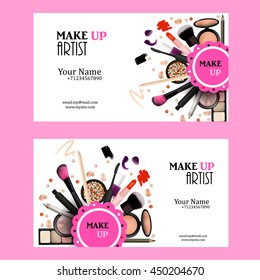 Make Up Artist Business Card Design Set. Cosmetic Products Vector Illustration with Pencil, Eye Shadow,Powder, Lipstick,  Mascara, Brush. Printable Template for Banner, Poster, Voucher, Booklet.