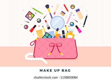 Make up bag vector flat set with lipstick, mascara, powder, eye shadow, mirror, primer, concealer, perfume, nail polish and pencils illustration.