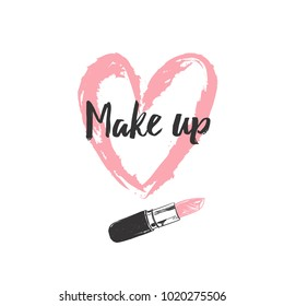 Make up and Beauty concept. Heart shaped smear with lipstick. Vector illustration