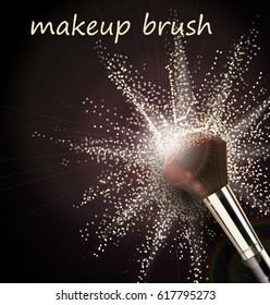 Make up brush with light powder explosion on black background Vector template
