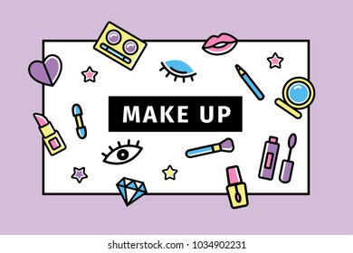 make up card. memphis design