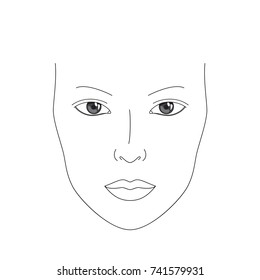 Make up chart / face chart. Realistic female image for makeup practice / drawing / adding shadows. Line art girl face. Woman vector illustration.