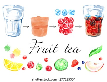 Make cold tea, lemonade. Fresh juice. Vector watercolor. Isolated. Food background. Fruits and berries.