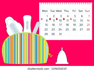 Make up colorful bag with menstruation sanitary pads and cotton tampons, and a calendar with blood drops. Hygiene protection for woman critical days. Gynecological menstrual cycle period