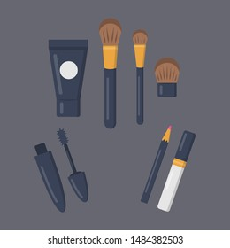 Make up cosmetics set of vector icons in cartoon style. Beauty salon and woman cosmetic magazine illustrations.