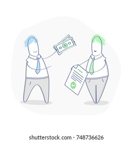 Make a deal, get money or investment for contract, agreement. Business people close the deal. Process of payment. Flat outline vector illustration, business template.