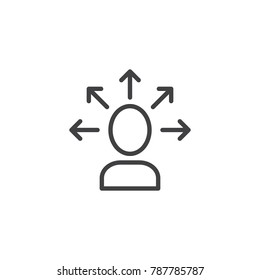 Make decision line icon, outline vector sign, linear style pictogram isolated on white. Self awareness symbol, logo illustration. Editable stroke