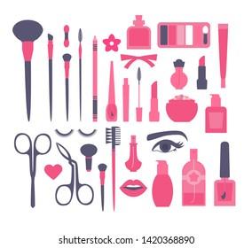 Make Up and Decorative Cosmetics Flat Set. Brusies, Eye Shadows, Lipstics, Nail Polish, Powder, Mascara, Perfume and Tweezers.