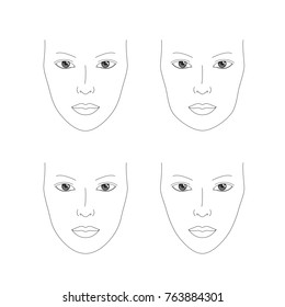 Make up face chart for make up artist's practice. Different face shapes: oval, round, square and heart. Make up practice sheets. Face chart drawing. Thin line vector illustration. Face template, blank