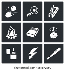 Make a fire, the fire source icons: stone on stone, magnifying glass, ignition, carving fire, fire, match boxes, lighter, lightning, Piezo lighters. Vector Illustration.