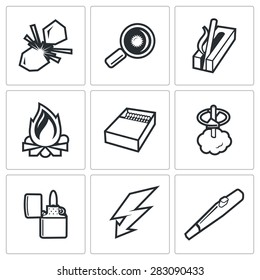 Make a fire, the fire source icons. Vector Illustration.