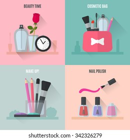 Make up flat icons. Square composition banners. Vector illustration for cosmetic design. Beauty style isolated on retro background. Make-up artist objects. Makeup accessories for pretty woman.