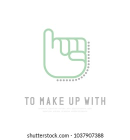 To Make up with Hand finger with dot shadow logo icon, sign language concept outline stroke flat design brown and grey color illustration isolated on white background with copy space, vector eps 10