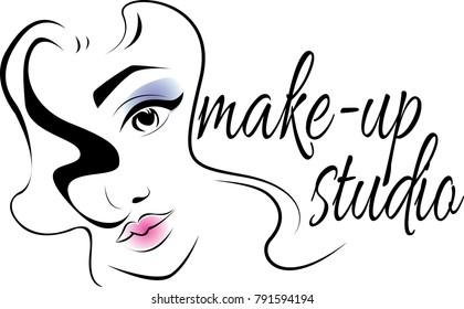 make up logo for beauty studio. make up logo for beauty artist. make up of eyes. label of beauty artist or visage. glamour eyes label