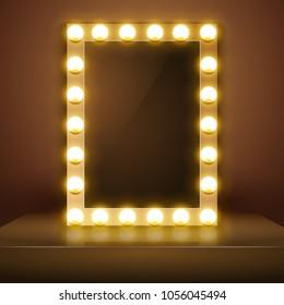 Make up mirror with light. Vector artist dressing room. Make-up mirror.