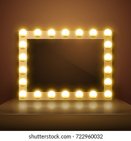 Make up mirror with light. Vector artist dressing room. Make-up mirror