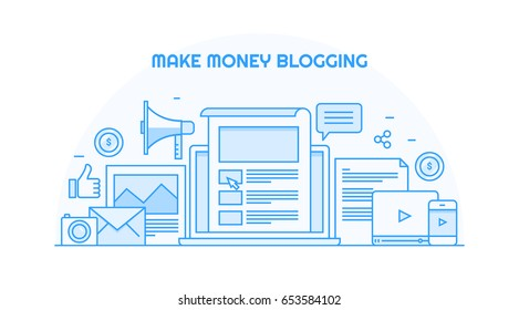 Make money blogging concept. Blog marketing, website monetization flat line vector banner isolated on white background