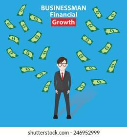 Make money, Businessman, business concept on blue background, clean vector
