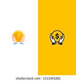 Make money logo. Gold dollar coin with hands businessman. Vector line art cartoon illustration