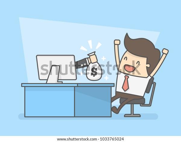 Make Money Online. Business Concept Illustration.