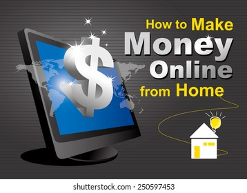 Make money online of computer and dollar sign