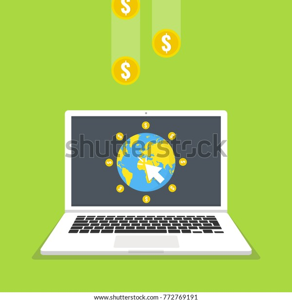 Make Money Online Concept Laptop Mouse Stock Vector (Royalty Free