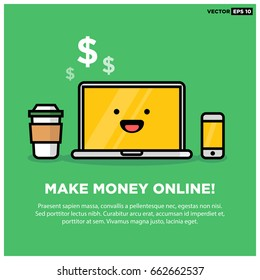 Make Money Online on Smiling Computer Laptop With Phone and Coffee Text Template